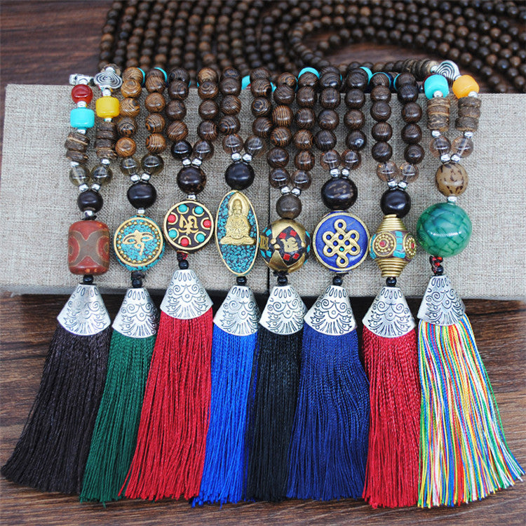 Women's Retro Ethnic Style Handmade Beaded Pendant Necklace - Black Tassel