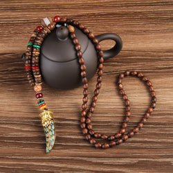 Buddhist Natural Stone With Wood Beads Pendant Necklaces For Women
