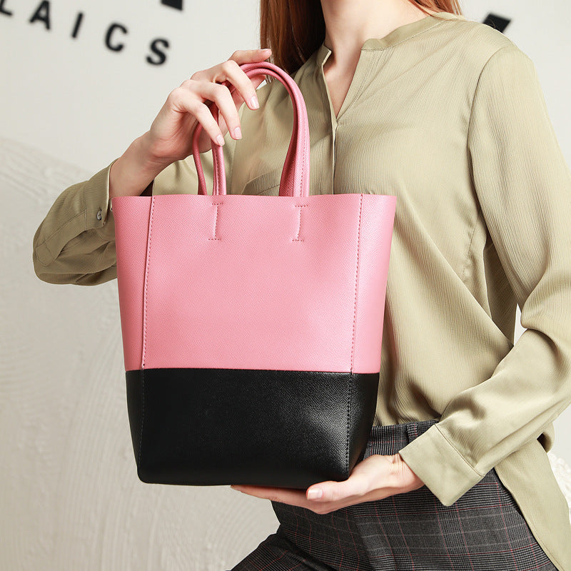 Beautiful Designed Genuine Italian Leather Made Tote Bag for Women - Pink with Black