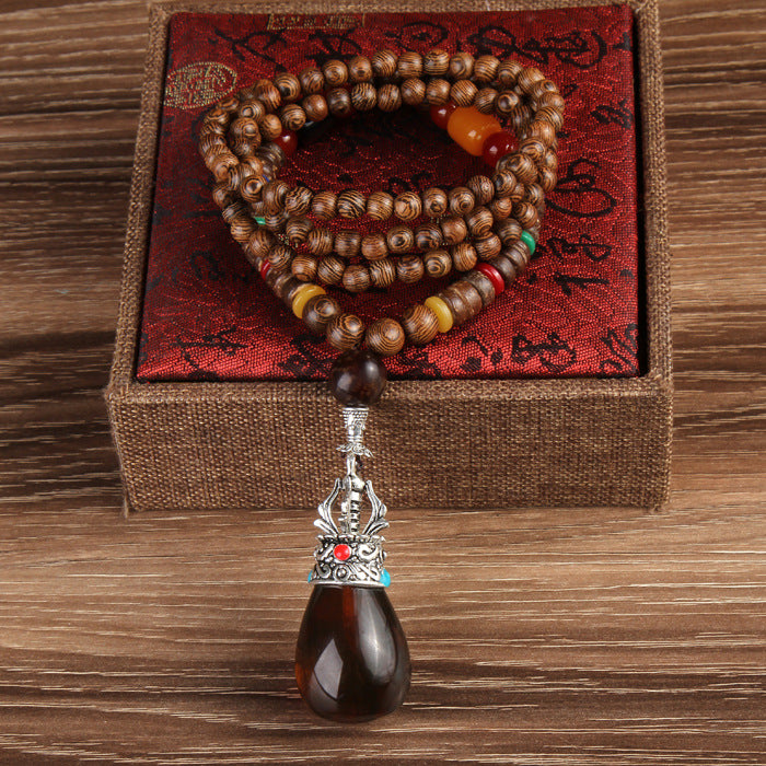 Natural Stone with Beautiful Wood Beads Pendant Necklaces For Women