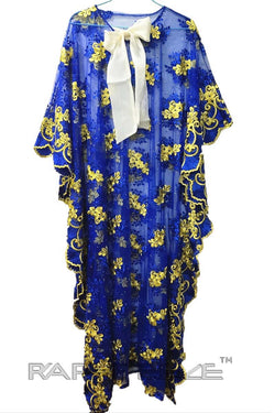 Unique Designed Long Party Gown Maxi Style Blue & Yellow Color - 2 in one Combo package