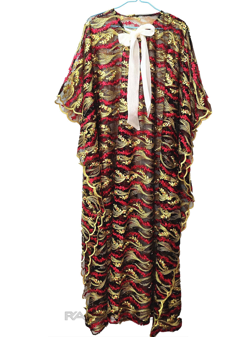 Burgandy Light Yellow Caftan Maxi Lace Gown