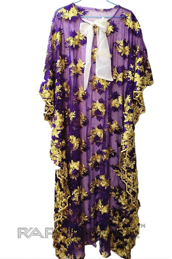 Burgandy Yellow Floor Length Caftan Maxi  Lace