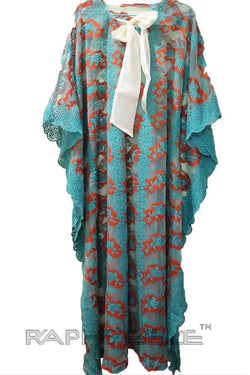 Green Red Lace Fabric Caftan
