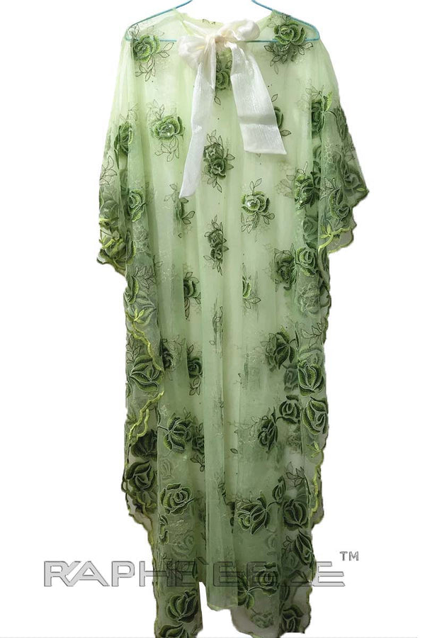 Soft Green Pearl Lace Caftan Maxi
