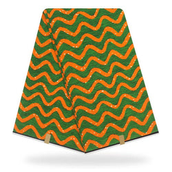 Orange Green Multi Color Holland Printed Wax
