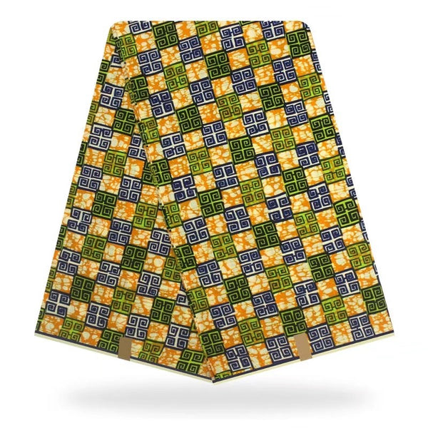Green Gold Wax Print Design Wrinkle Resistant