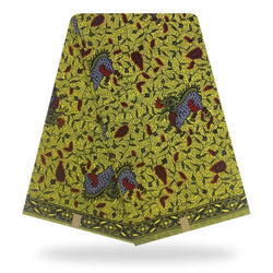 African Paisley Green Printed Wax Cotton Fabric