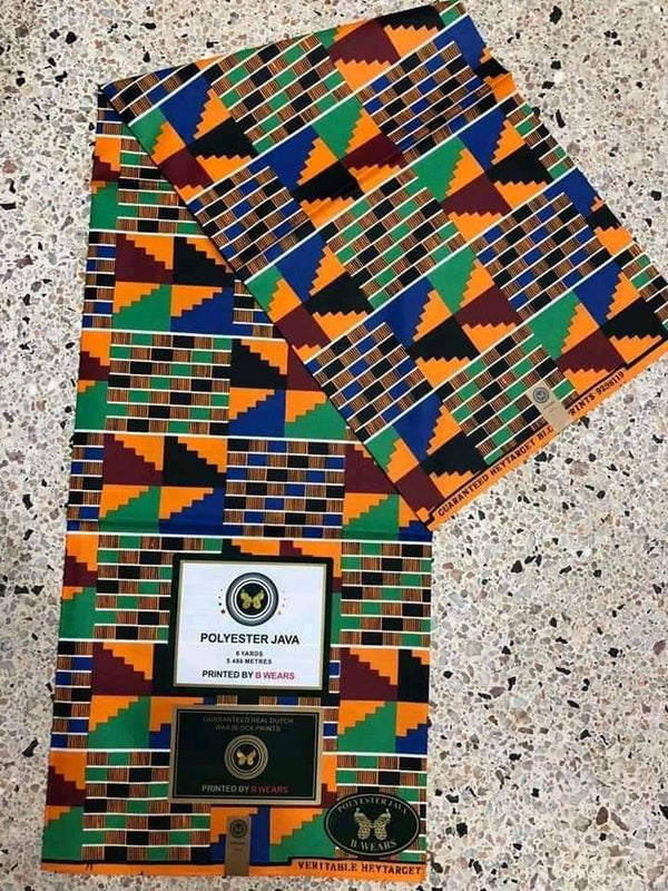 African Kente Print Designed Original Kente Fabrics - Mixed Color & Design