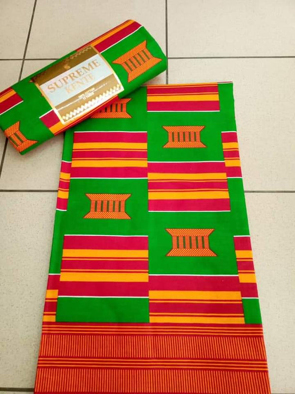 A Paste Green Body Printed Original Kente Fabrics