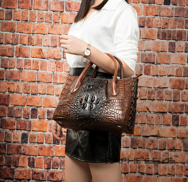 Crocodile Leather Vintage Designed Stylish Tote Handbag for Woman - Leather Color
