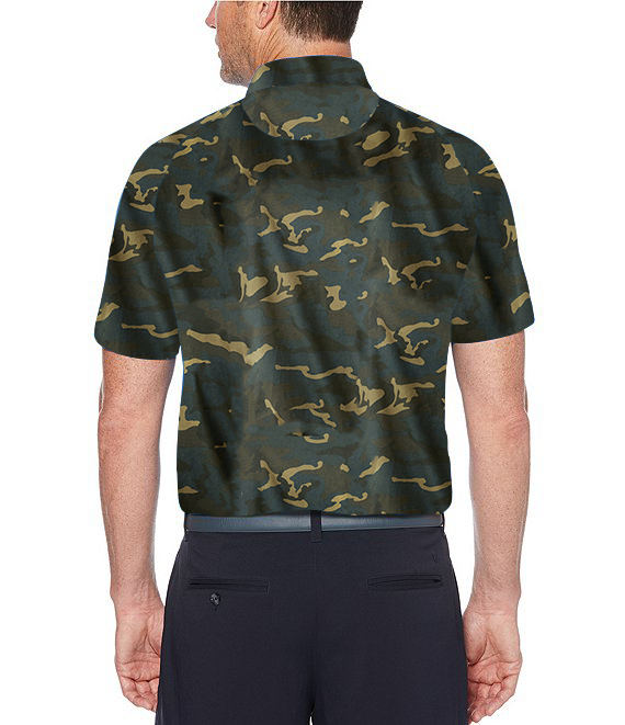 Camouflage Designed Front Zipper Collar Half Sleeve Polo T-Shirt for Men
