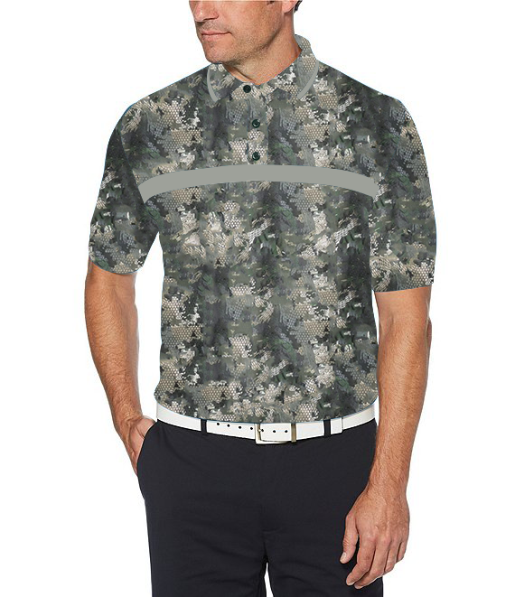 Green Snake Skin Designed Front Buttoned Collar Half Sleeve Polo T-Shirt for Men