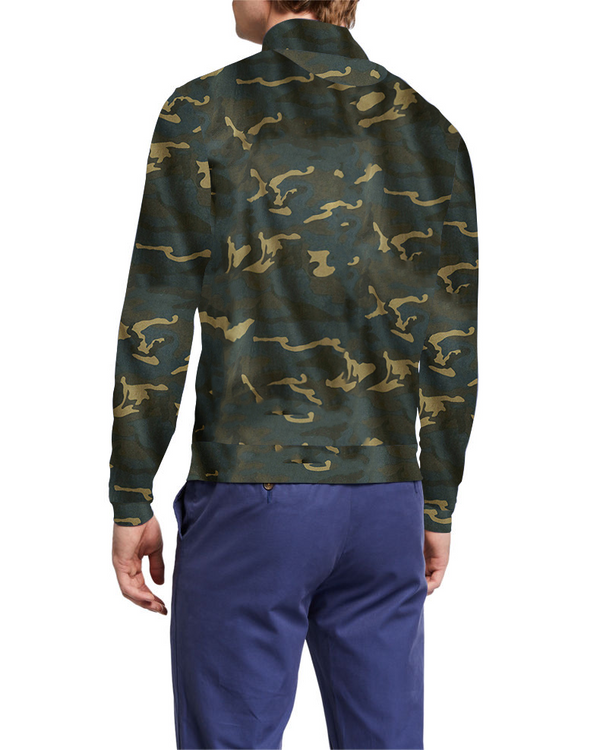 Camouflage Designed Front Zipper Collar Long Sleeve Polo T-Shirt for Men