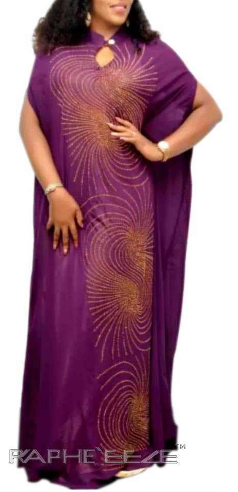 Purple Color Unique Designed Long Silk Polyester Maxi  Gown