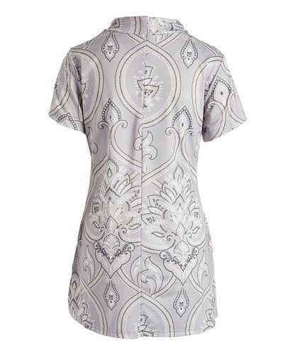 Floral Gray Paisley Dress Top