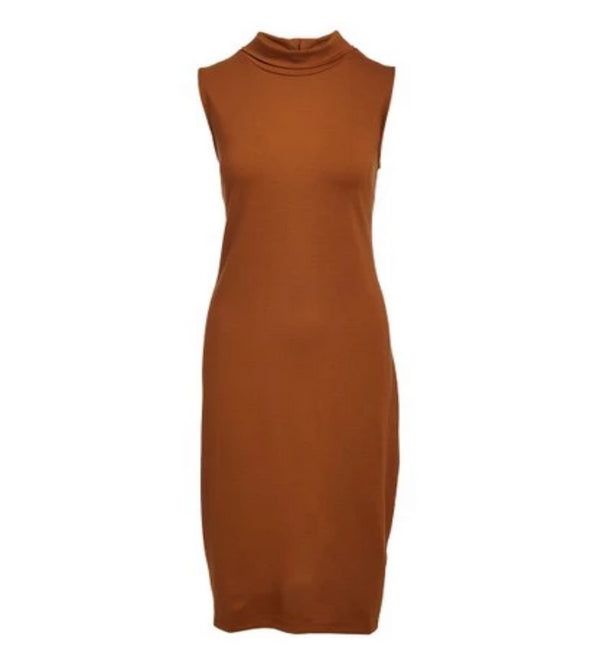Rapheeze Italian Sleeve Free Brown Dress