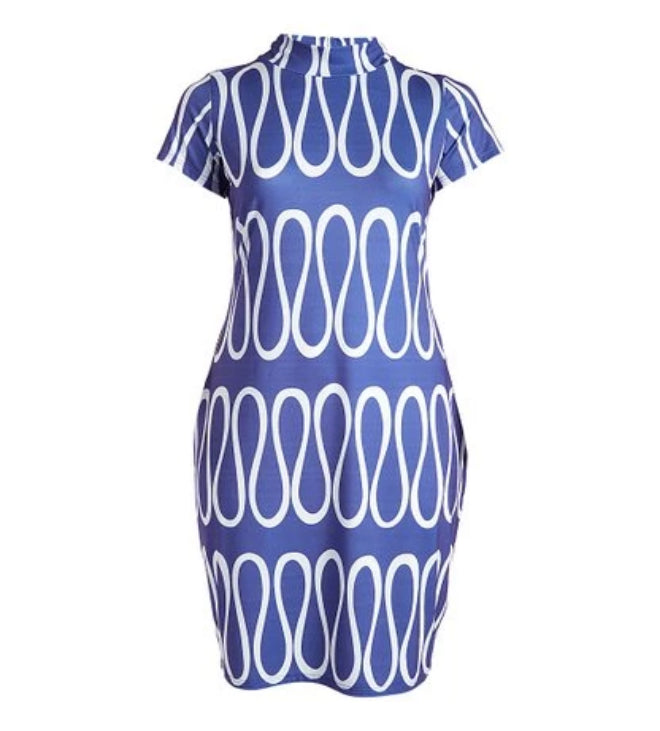 Wavy Blue Short Sleeve Bodycon Dress-All Sizes to Plus Size