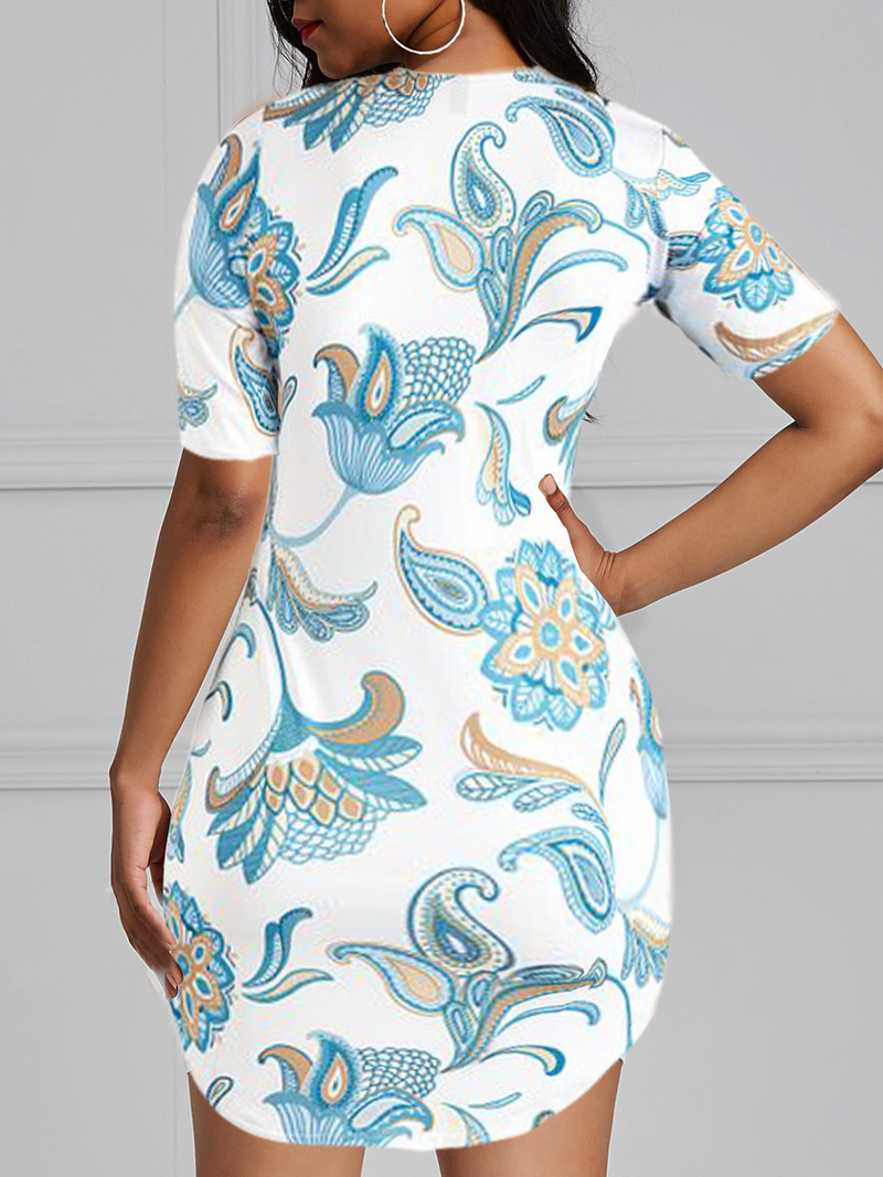 Modern Floral Tunic Above The Knee