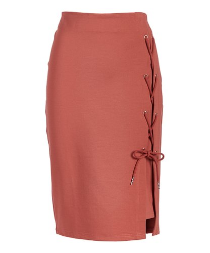 Rapheeze ABCG Knee Length Marsala Personality Lace-Up Pencil Skirt