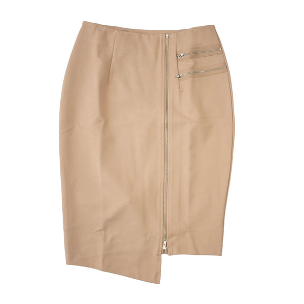 English Italian Hip Curvy Tan Asymmetrical Zip Skirt