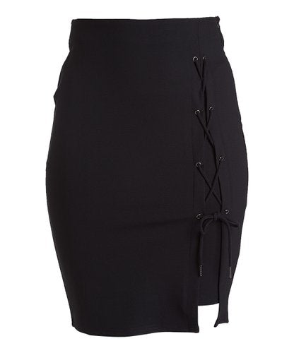 Rapheeze ABCG Knee Length Personality Black Lace-Up Pencil Skirt