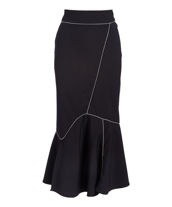 Skirt037 Black Curve Trumpet Midi Skirt