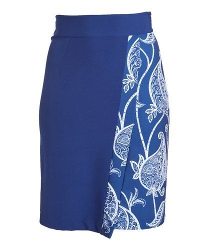 Skirt0441 Blue & White Paisley Midi Wrap Skirt
