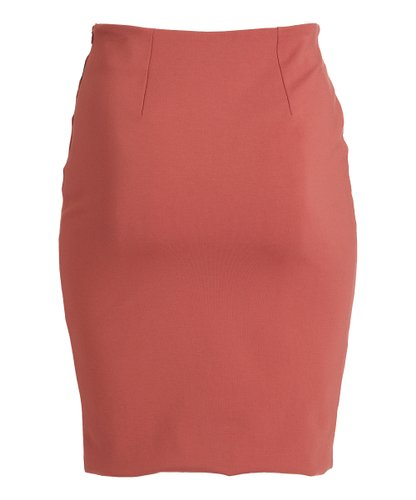 Rapheeze Italian Knee Length Skirt Marsala & Black Contrast-Trim Zipper Pencil Skirt