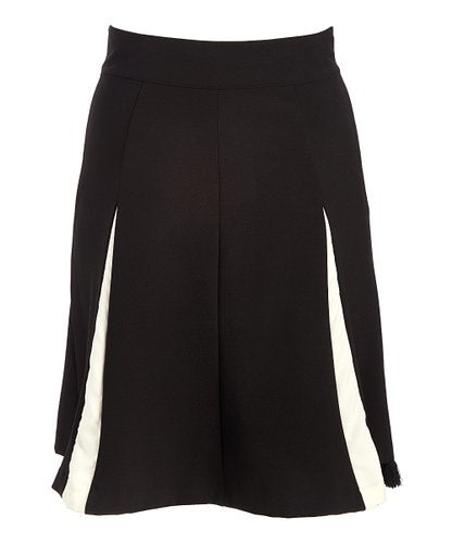 Calf Length Black Midi Skirt with White Stripe - Side Zipper