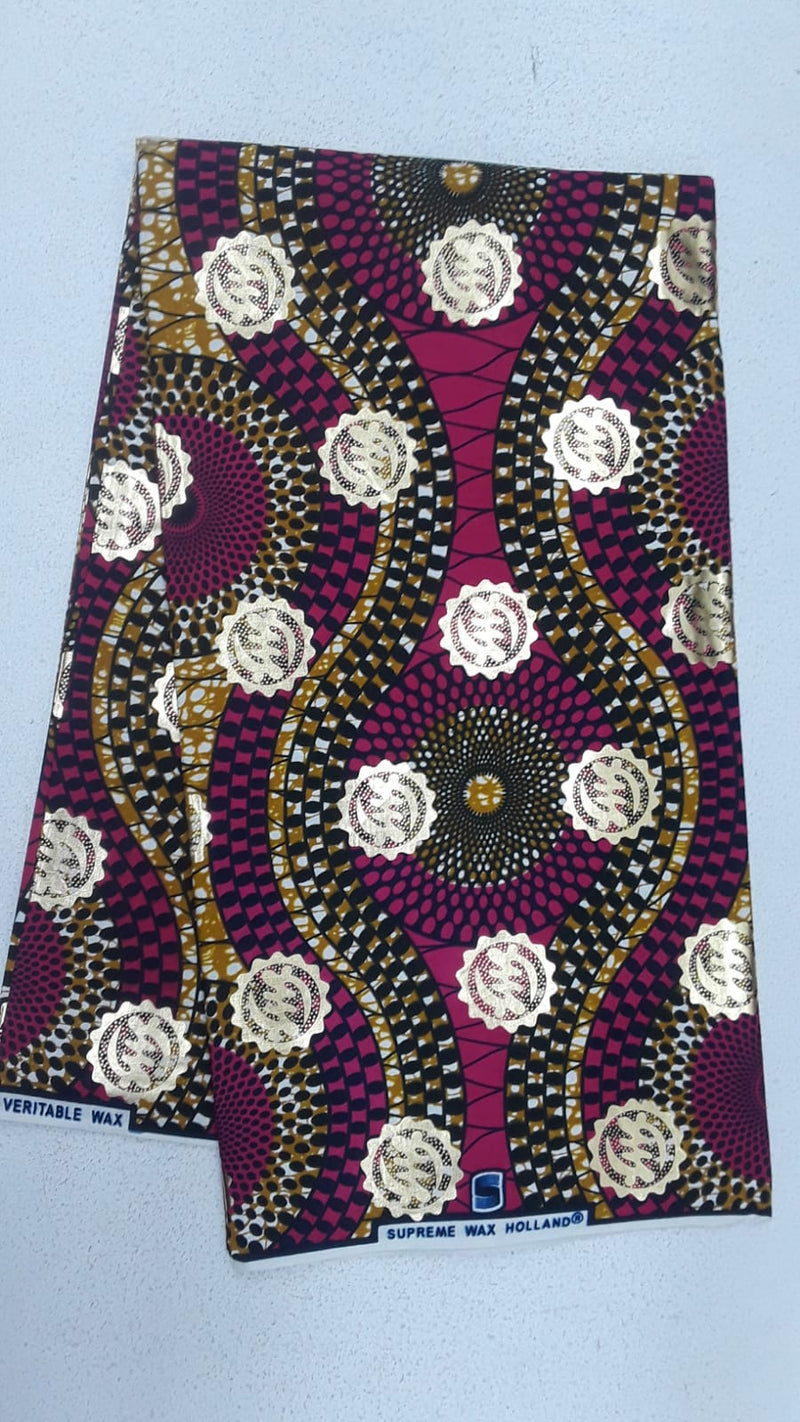 Unique Designed Body Wax Printed Original Kente Fabrics - Maroon Color