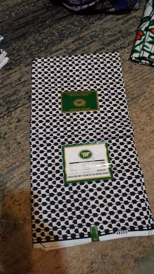 Unique Designed Wax Printed Original Kente Fabrics - Black & White