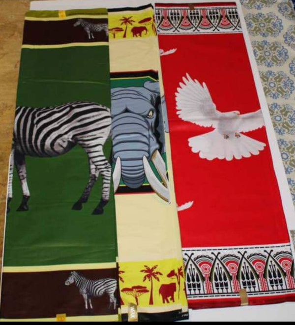Wildlife Print Designed Original Kente Fabrics - Mixed Color
