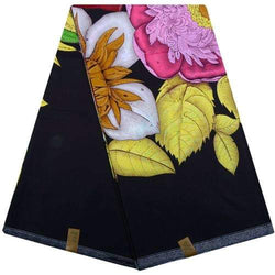 Multicolored Flower Designed Original Kente Fabrics - Black Color