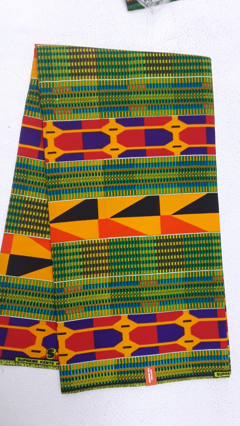 A Forest Green Unique Designed Original Kente Fabrics