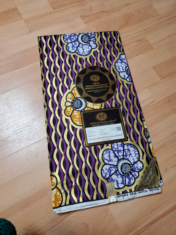 Purple, Black & Yellow Color Printed Designed Original Kente Fabrics