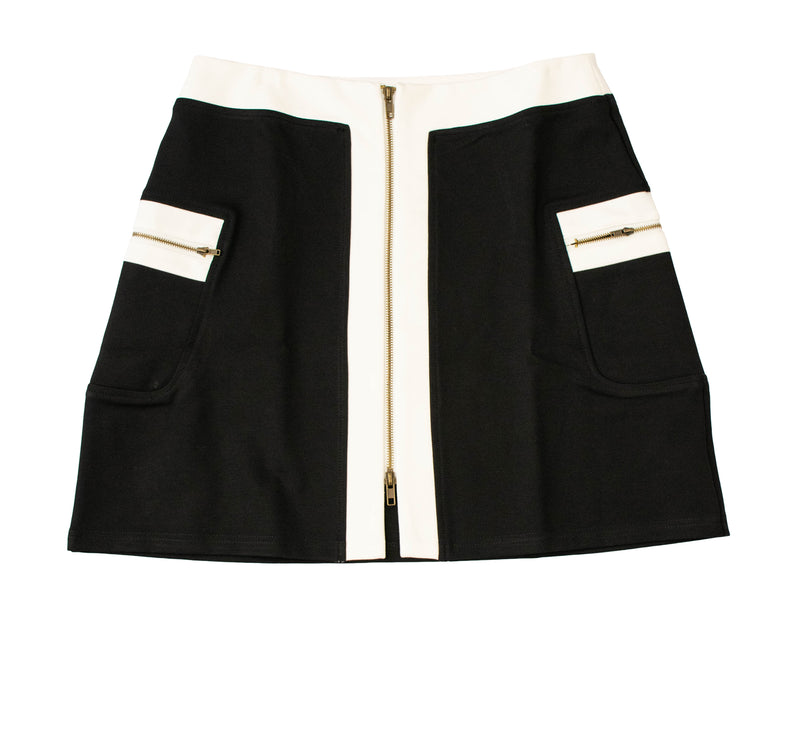 Rapheeze PolySpandex Skirt White & Black Pocket Contrast-Trim Miniskirt