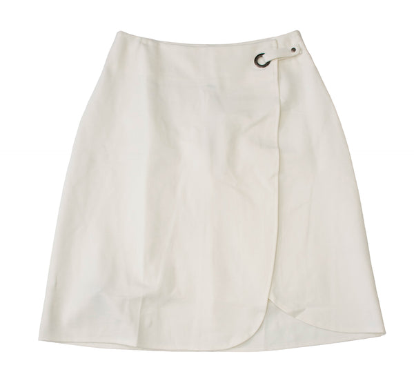 English Italian Half Wrap White Skirt