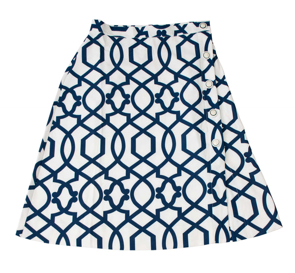 Rapheeze Designed Midi Wide Skirt with Lively Blue Print