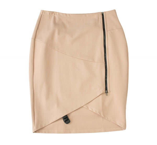 English Taupe PolySpandex V-Curve Skirt