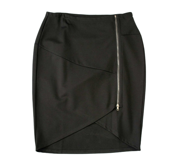 English Black PolySpandex V-Curve Skirt