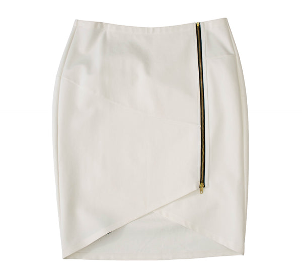 English White PolySpandex V-Curve Skirt