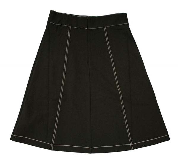 Rapheeze Designed Midi Wide Skirt with Hem Fringes - Black
