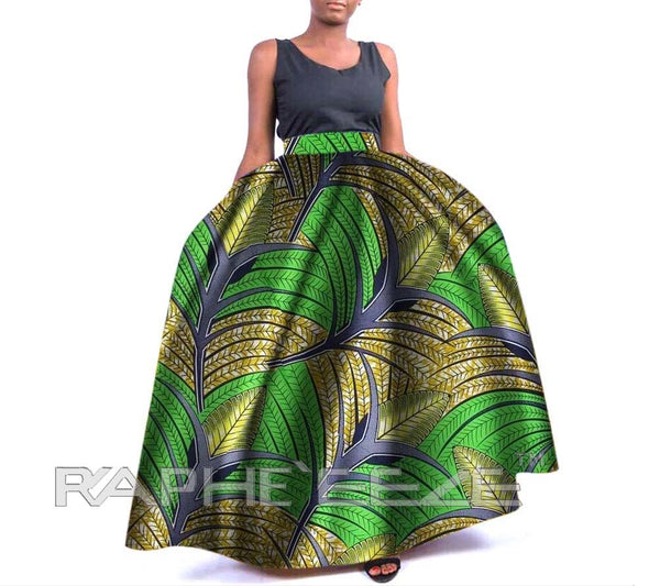 Amazing Designed Long Maxi Bobo Skirt for Women - Forest Green