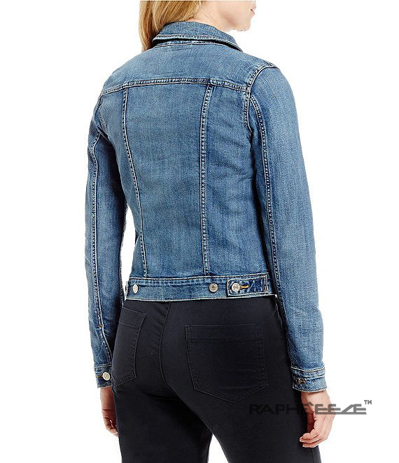 Semi Mid Wash Blue Colored Ripped Denim Jacket with Long Sleeve for Women