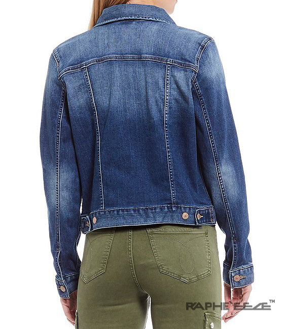 Deep Washed Denim Jacket with Long Sleeve for Women