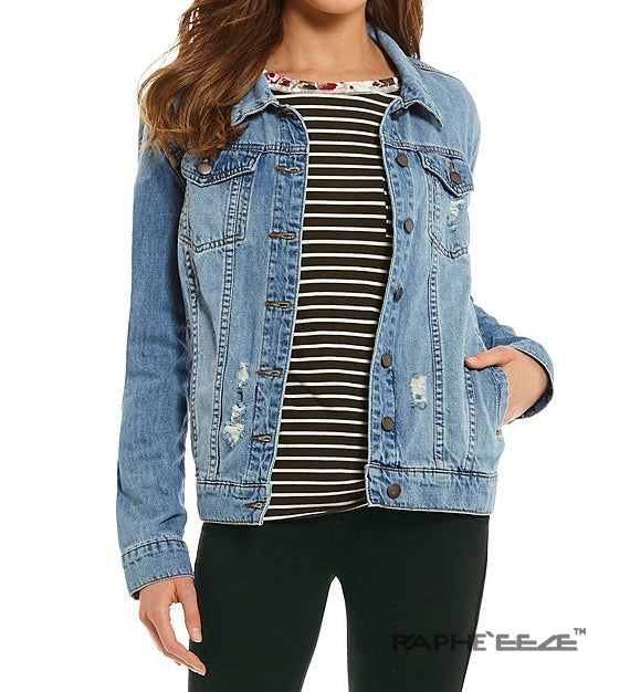 Strong Washed Blue Zipper style Denim Jacket with Long Sleeve for Woman