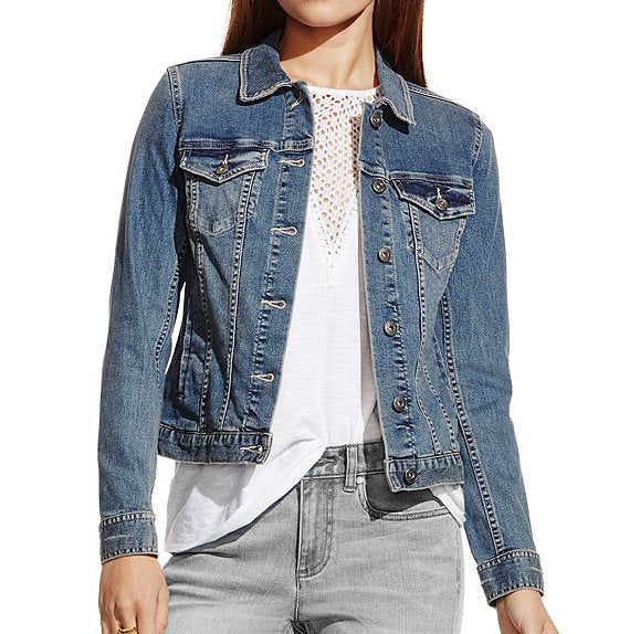 Round Neck Retro Style Diamante Short Denim Jacket with Long Sleeve for Woman