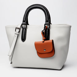 Beautiful Designed Genuine Italian Leather Made Tote Bag with Small purse - White Color