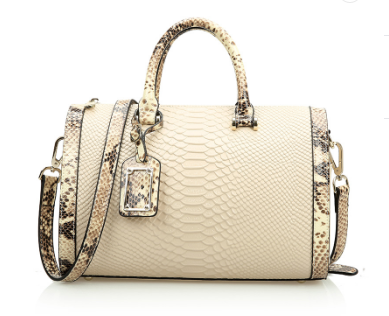 Unique Designed Vintage Style Snake Leather Made Purse Bag for Women - Beige
